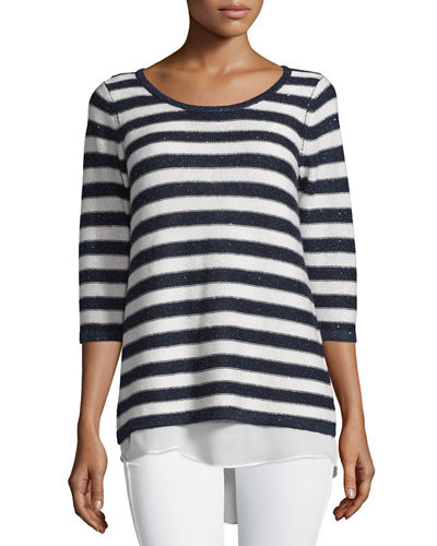 Neiman Marcus Cashmere Collection Sequin-Striped Sweater with