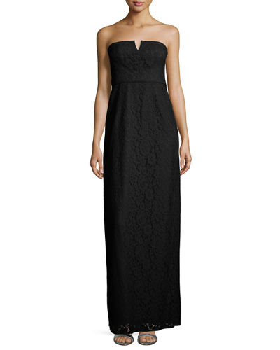 Donna Morgan Strapless Lace Column Gown