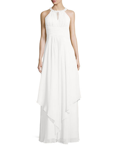 Donna Morgan Sleeveless Beaded Halter Gown