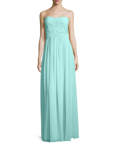 Donna Morgan Strapless Ruched Chiffon Gown