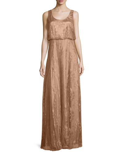 Natalya Sleeveless Satin Lace Gown