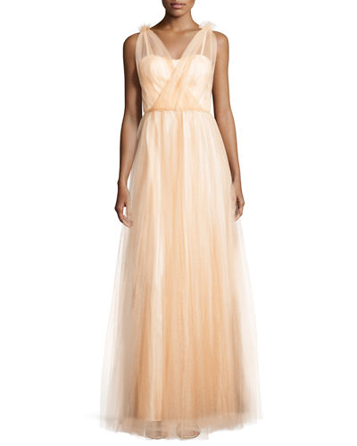 Donna Morgan Emmy Sleeveless Pleated Tulle Gown