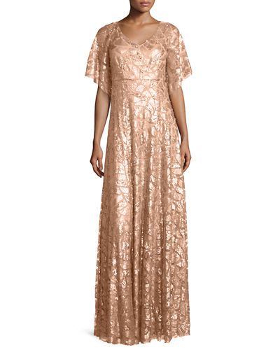 Camilla Half-Sleeve Beaded & Paillette Gown