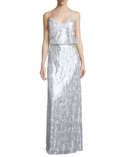 Donna Morgan Courtney Spaghetti Strap Sequined Gown