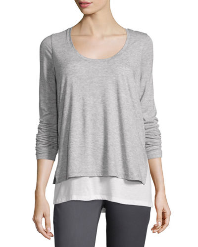 Vince Double-Layer Colorblock Long-Sleeve Tee