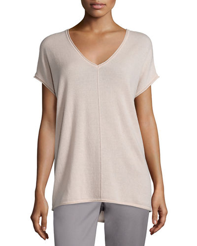 Rolled-Edge Cashmere V-Neck Tee