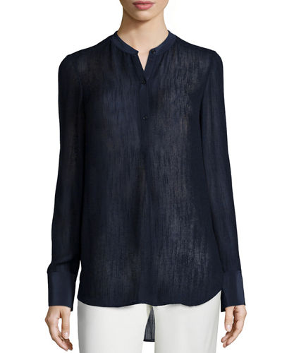 Vince Textured Silk-Blend Blouse