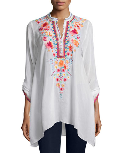 Johnny Was Collection Sable Long-Sleeve Embroidered Tunic, Plus
