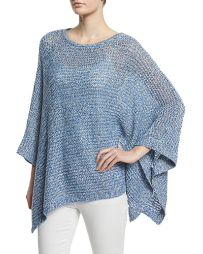 Neiman Marcus Cashmere Collection Linen Open Weave Poncho