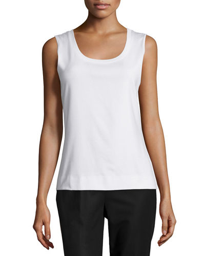 Lafayette 148 New York Basic Scoop-Neck Cotton Tank,