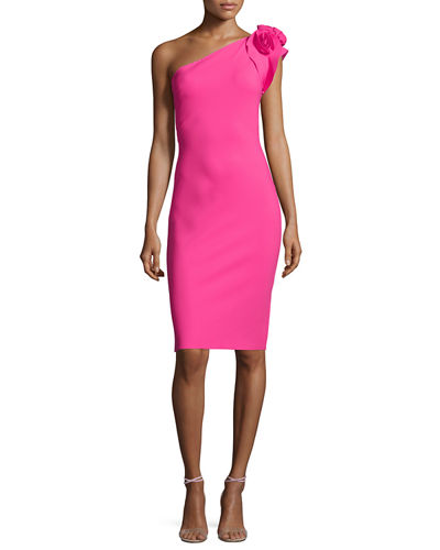 Cenrica One-Shoulder Rosette Sheath Dress