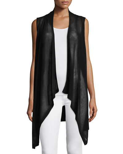 Neiman Marcus Cashmere Collection Mesh Cashmere-Blend Draped Vest