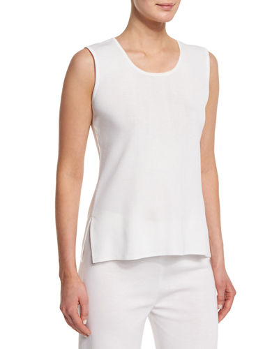 Scoop-Neck Knit Tank Top, Petite