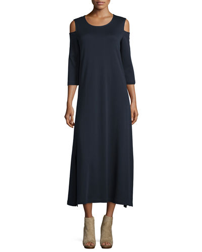 Cold-Shoulder A-line Jersey Maxi Dress, Petite