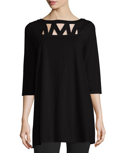 3/4-Sleeve Yoke-Cutout Tunic, Black, Petite