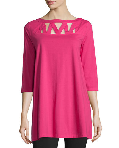 3/4-Sleeve Yoke-Cutout Tunic, Petite