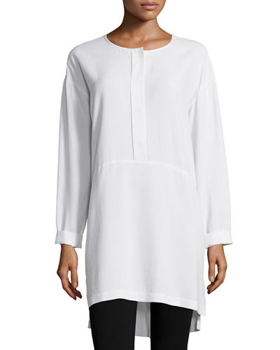 Long-Sleeve High-Low Silk Tunic, Petite