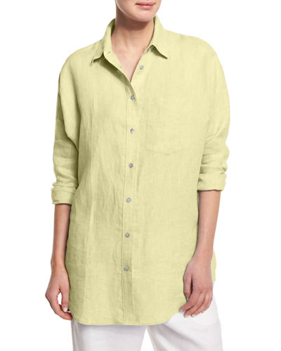 Go Silk Long-Sleeve Cross-Dye Linen Big Shirt