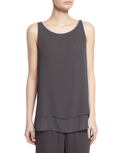 Eileen Fisher Georgette Shell W/ Layered Hem, Plus Size