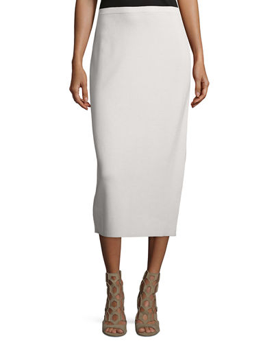 Eileen Fisher Washable Silk/Cotton Midi Pencil Skirt, Plus