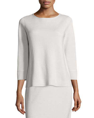 Eileen Fisher 3/4-Sleeve Silk/Cotton Interlock Box Top, Petite