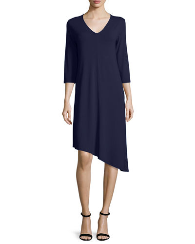 3/4-Sleeve Asymmetric Jersey Dress, Petite