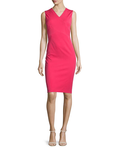 Elie Tahari Alva Sleeveless V-Neck Sheath Dress