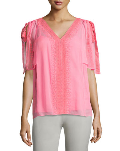 Brette Silk Short-Sleeve Blouse