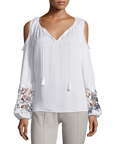 Elie Tahari Cathy Cold-Shoulder Embroidered Blouse, Paradiso/White