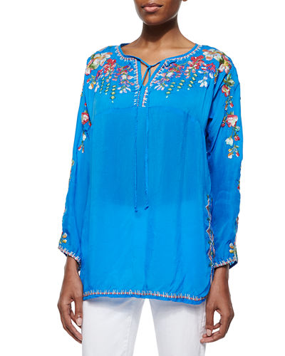 Vanessa Georgette Embroidered Tunic, Petite