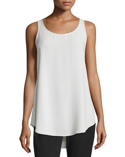 Scoop-Neck Georgette Crepe Tank, Petite