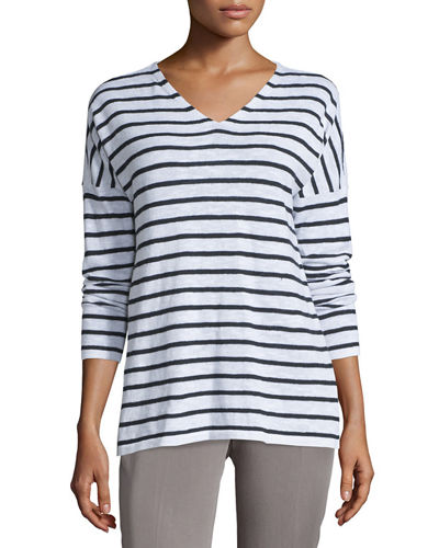 Eileen Fisher Long-Sleeve V-Neck Striped Top