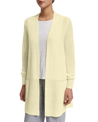 Long Organic Linen Cardigan with Pockets