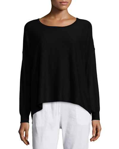 Eileen Fisher Featherweight Cashmere Boxy Top, Petite