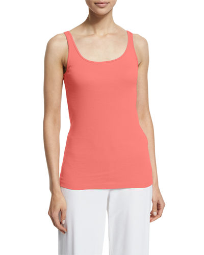 Eileen Fisher Scoop-Neck Long Slim Tank, Petite