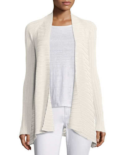 Eileen Fisher Variegated Ribbed Open Cardigan