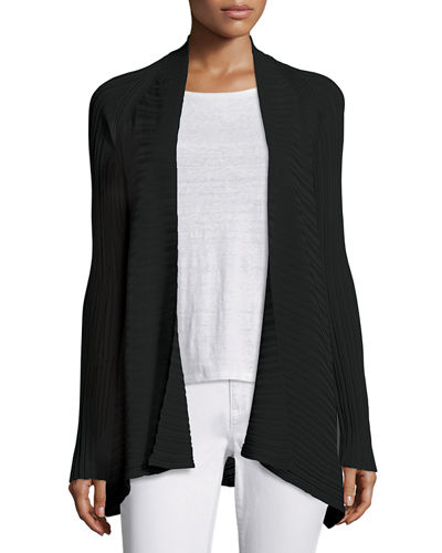 Eileen Fisher Variegated Ribbed Open Cardigan, Plus Size