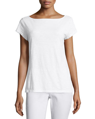 Eileen Fisher Cap-Sleeve Organic Cotton Slub Top, Petite