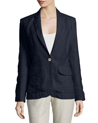 Neiman Marcus One-Button Fitted Linen Blazer, Women's