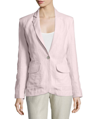 One-Button Fitted Linen Blazer, Plus Size