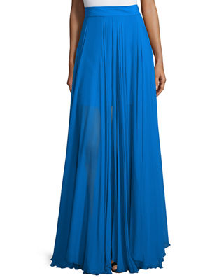 Milly Flowy Silk Maxi Skirt W/ Front Slit