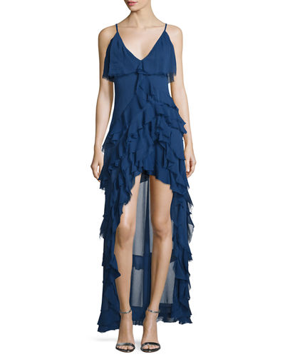 Alice + Olivia Laverne Sleeveless Asymmetric Ruffled Gown