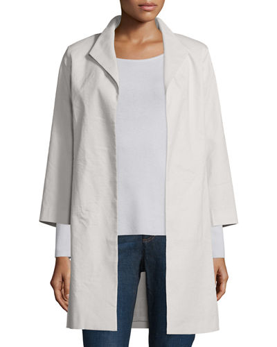 Eileen FisherPolished Ramie High-Collar Coat