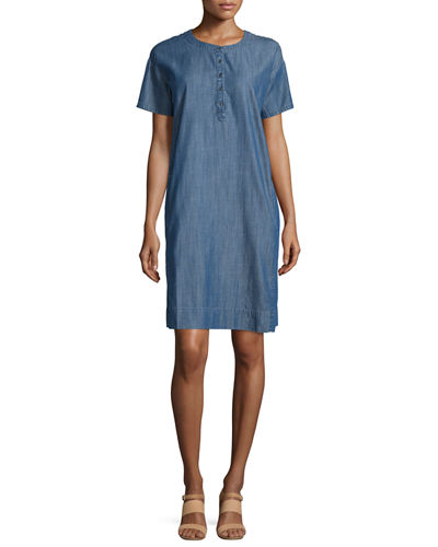 Eileen Fisher Classic Short-Sleeve Shift Dress