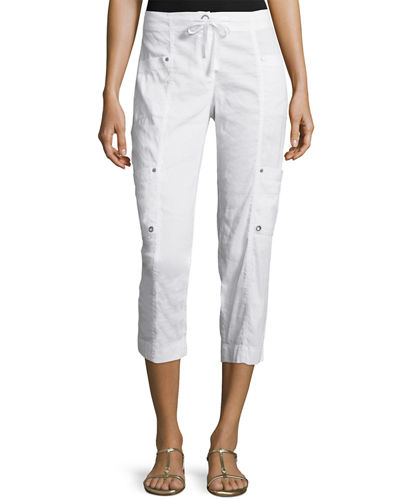 Drawstring Cropped Cargo Pants, White