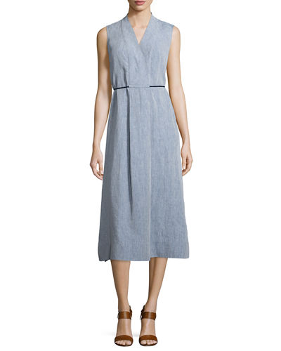 Lafayette 148 New York Tawny Sleeveless Midi Dress