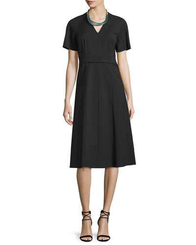 Kaylee Short-Sleeve A-Line Dress
