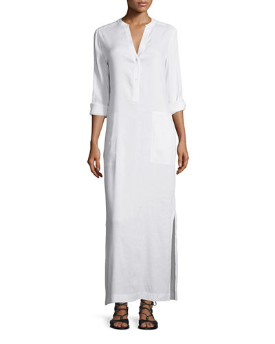 Vince Long-Sleeve Linen Dress