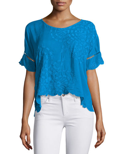 Sheree Short-Sleeve Embroidered Top, Plus Size