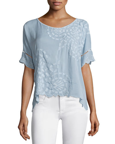 Sheree Short-Sleeve Embroidered Top